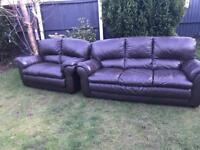 Brown leather 3&2 seater sofas can deliver