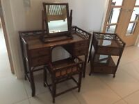 Rattan Dressing Table, Stool, Mirror and Bedside Table