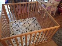 babydan felix wooden playpen beech with playmat