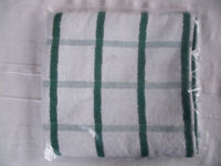 NEW in original sealed packaging 2 green & white check towelling tea towels. 100% cotton. £2 both.