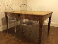 Antique pine table (seats 4/6 people)
