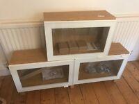3 x Ikea Besta oak effect glass door wall cabin