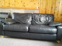 Sofas x 2. Black leather 2 seaters