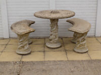 Ornate Stone Garden Table and Bench set