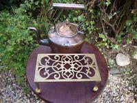 Vintage Copper Kettle and Brass Trivet.