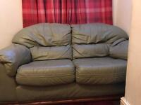 Two piece sofa set with table.