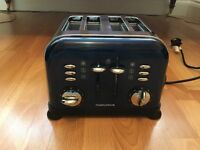 Morphy Richards Accents Stainless Steel and Blue Four Slice Toaster, Model 44730