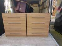 Light oak 4 drawer chests with chrome handles