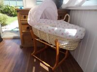 Mothercare Moses basket and stand in excellent condition