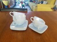Vintage fireking azurite teacups and saucers
