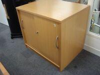 Desk Height Sliding Door Cupboard with 1 Shelf, Beech