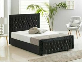 GREAT OFFER-Double Heaven bed Frame With Diamonates in Grey Color-Call now