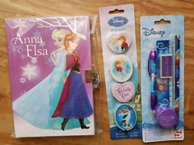 Disney Frozen Diary with Key,Stationary Set & Erasers BRAND NEW