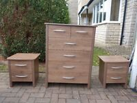 Two bedside tables, walnut effect finish
