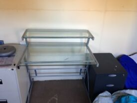 Glass desk, chair and filing cabinet
