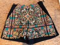 Cute Black Topshop Shorts with Stitch Front Detail - Size 6 - Never Worn!