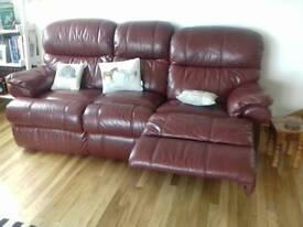 3 piece leather recliner