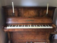 Upright piano, walnut, with candlesticks, Collard and Collard.