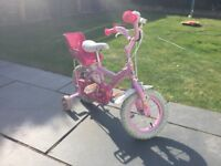 "Girl""s 12 inch bike with stabilisers"