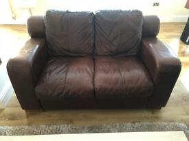 Two, 2 Seater Leather Sofa's (Chocolate Brown)