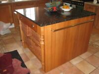 Bespoke oak kitchen island with solid marble top, drawers and baskets for sale