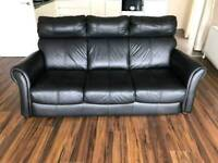 3 seater Sofa in a black leather Hyde