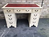 PARTNERS DESK LEATHER TOP IN THREE PARTS SOLID WOOD PAINTED RUSTIC STYLE