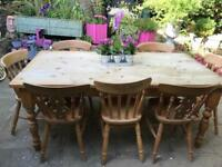 Large 6ft farmhouse dining table and 8 chairs country rustic