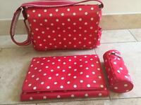 Cath Kidston Red polka baby changing bag