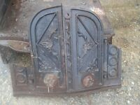 WROUGHT IRON STOVE FIREPLACE WOOD BURNER ORNATE BESPOKE VINTAGE BASE + DOORS AND VARIOUS PIECES