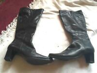 Elastomere ladies leather boots black size 5/38 used one time £5