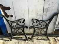 Steel metal rustic garden chair seat wood bench ends