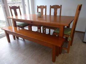 Solid wood dining table, Bench seat & 4 Chairs