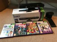 Xbox 360 Kinect - With 4 Compatible Games - Good condition