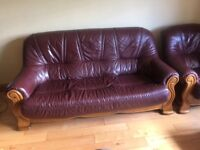 Leather 3 piece suite with oak frame