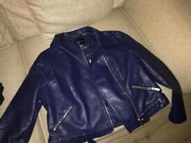 Blue faux leather jacket
