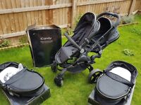 Icandy peach blossom twin in jet black, car seats and isofix bases