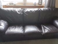 Brown leather sofa & arm chair