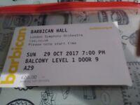 2x Tickets - Barbican Hall - London Symphony Orchestra - Khatia Buniatishvili - 29th October 2017