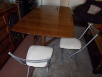 (Folding) (G Plan)Dining Table & (4) Chairs. (Can Delliver) ***