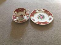"""Coalport """"Montrose Pink"""" Teacups, Saucers and Plates"""