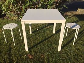 Ikea Melltorp small white square kitchen table 75cms square 75cms tall play kids