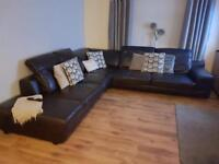 Large real leather DFS corner sofa