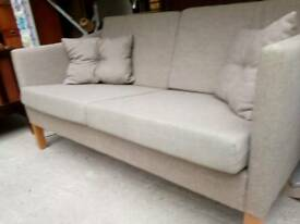 Vintage retro danish light beige wool 2 seater sofa