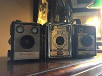 Three vintage box cameras
