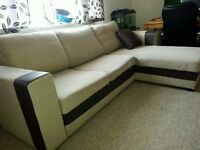Lovely fabric corner sofa with sofabed and storage - CAN DELIVER TOO