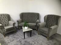 Chesterfield Queen Anne .Sofa and two chairs (2+1+1)