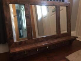 Hallway Mirror, shelf and coat hooks.