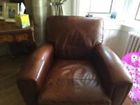 Leather 3seat couch and chair