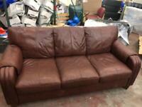 Brown Leatherette 3 seat Sofa